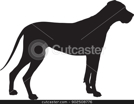 Great Dane Silhouette stock vector clipart, A Great Dane dog shown in black silhouette profile.  by Maria Bell