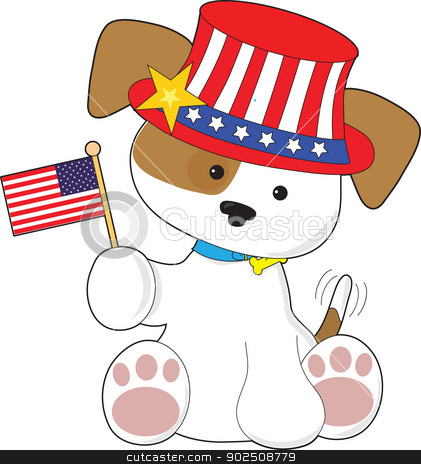 Puppy Patriotic stock vector clipart, A cute puppy with tail wagging, wears an patriotic hat and waves a small American flag. by Maria Bell