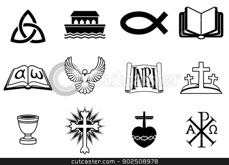Christian icons stock vector clipart, A set of icons pertaining to Christianity and Christian themes by Christos Georghiou