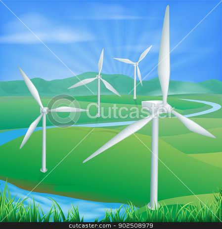 Wind power energy illustration stock vector clipart, Illustration of a wind farm generating power and electricity  by Christos Georghiou