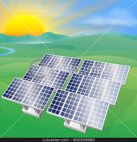 Solar power energy illustration stock vector clipart, Illustration of a solar panel photovoltaic cells generating power and electricity  by Christos Georghiou