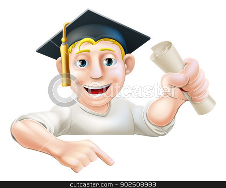 Learning graduate man pointing down stock vector clipart, An illustration of a man in graduate mortar board hat holding a scroll certificate, diploma or other qualification, peeping over a sign and pointing down at it. by Christos Georghiou