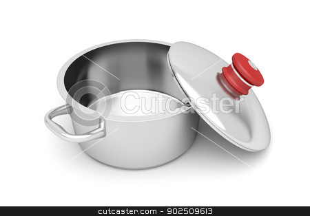 Empty cooking pot stock photo, Empty cooking pot on white background by Mile Atanasov