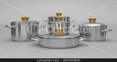 Stainless steel pots stock photo, Set of stainless steel pots by Mile Atanasov