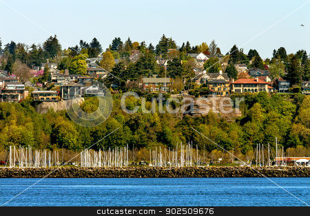 Sailboat Yachts Marina Cliff Buildings Waterfront Seattle Washin stock photo, Sailboat Yachts Marina Cliff Buildings Waterfront Seattle Washington by William Perry