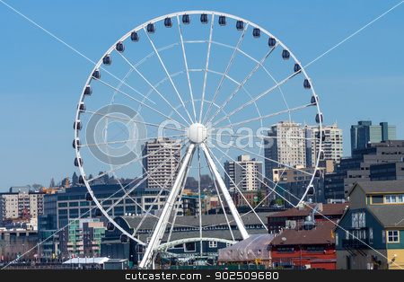 Ferris Wheel Buildings Waterfront Seattle Washington stock photo, Big Ferris Wheel Buildings Waterfront Seattle Washington by William Perry