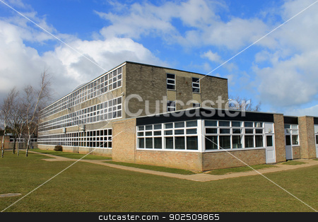 English school building stock photo, Exterior of English secondary school building, Scarborough. by Martin Crowdy