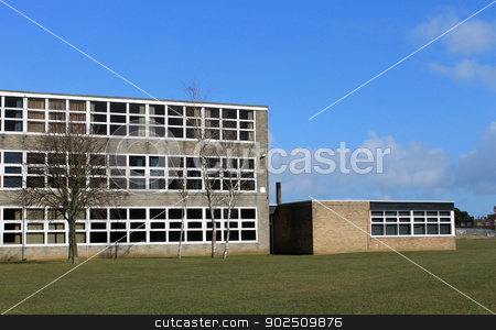 Exterior of school building stock photo, Exterior of modern school buildings, Scarborough, England. by Martin Crowdy