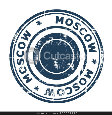 Moscow travel stamp stock photo, Moscow travel stamp isolated on a white background. by Martin Crowdy