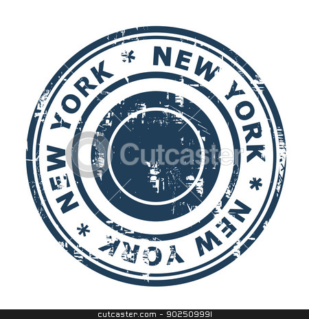 New York travel stamp stock photo, New York travel stamp isolated on a white background. by Martin Crowdy