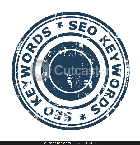 SEO keywords concept stamp stock photo, SEO keywords concept stampconcept stamp isolated on a white background. by Martin Crowdy