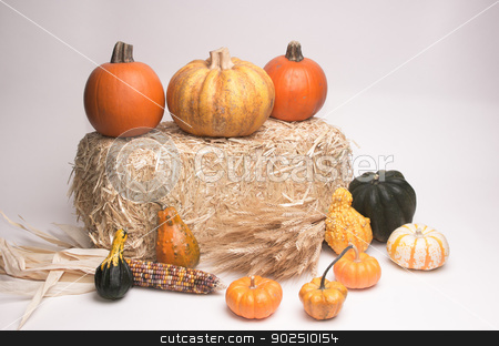 Harvest Time stock photo, Pumkins, acorn squash, Indian Corn, wheat stalks, and gourds on hay stack.  by Surf City Images
