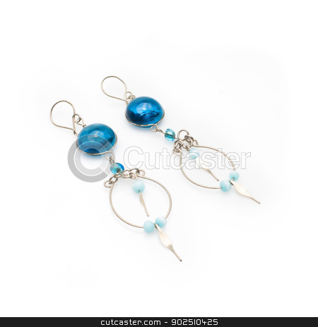 Handmade Blue Peruvian Earrings stock photo, Handmade beaded Peruvian murano glass earrings. Isolated on white background by Cheryl Valle