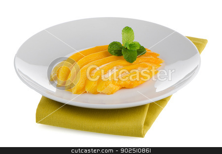 Mango fruit stock photo, Mango fruit on white plate on white background. by Homydesign