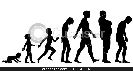 Ages of man stock vector clipart, Editable vector silhouette sequence of the life stages of a man by Robert Adrian Hillman