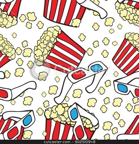 Popcorn and 3d glasses. Cinema concept background stock photo, Popcorn and 3d glasses. Cinema concept background by Maria Cherevan