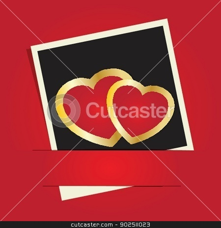 Cute vector background with two  hearts stock photo, Cute vector background with two hearts by Maria Cherevan