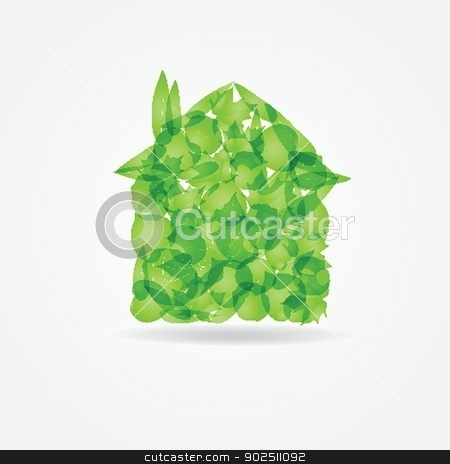 Ecological concept. Small green house stock photo, Ecological concept. Small green house from fresh leaves by Maria Cherevan