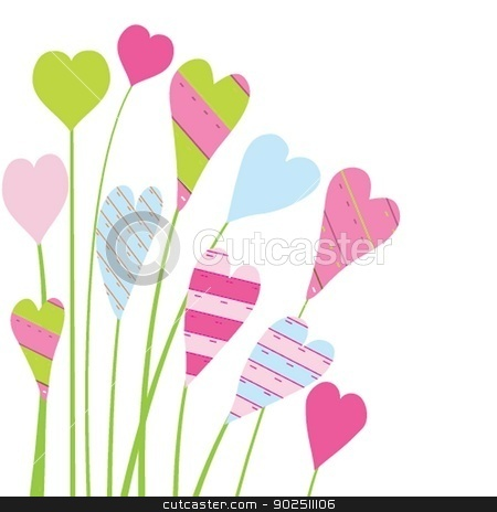 Valentine`s card with flowers and hearts stock photo, Bright valentine`s card with flowers and hearts by Maria Cherevan