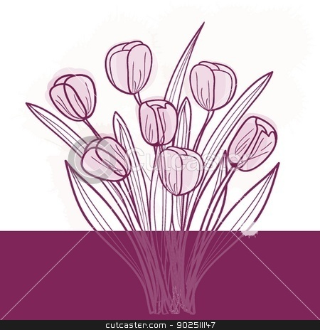 Decorative background with Tulips flowers stock photo, Tulip flowers. Vector background by Maria Cherevan