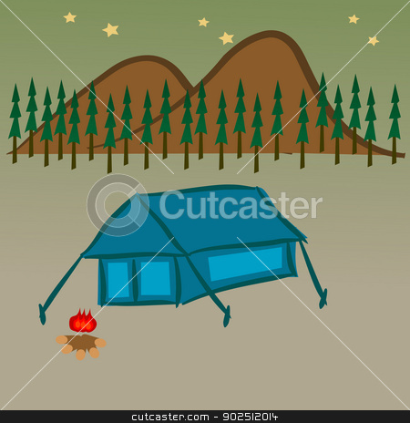 Camping stock vector clipart, Vector of tent and camp fire in the nighttime by Suphatthra China