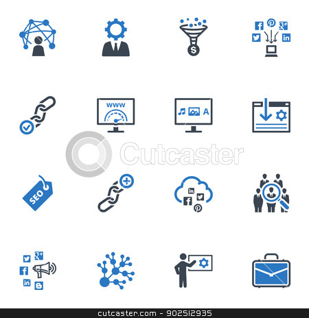 SEO & Internet Marketing Icons Set 2 - Blue Series stock vector clipart, This set contains 16 SEO and Internet Marketing icons that can be used for designing and developing websites, as well as printed materials and presentations. by Adan Vielma