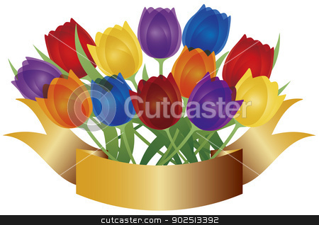 Colorful Tulips with Gold Banner Illustration stock vector clipart, Colorful Tulip Flowers for Easter or Mothers Day with Gold Label Banner Isolated on White Background Illustration by Jit Lim