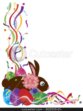Easter Bunny and Eggs in Confetti Border Illustration stock vector clipart, Happy Easter Day Bunny Rabbit and Colorful Eggs in Confetti Border Illustration on White Background by Jit Lim