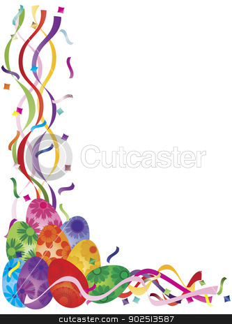 Colorful Easter Day Eggs in Confetti Border Illustration stock vector clipart, Colorful Happy Easter Day Eggs in Confetti Border Illustration on White Background by Jit Lim