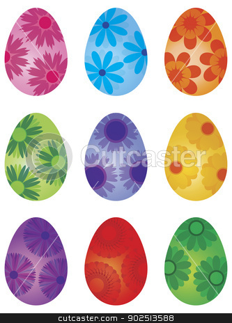 Happy Easter Day Floral Eggs Illustration stock vector clipart, Happy Easter Day Eggs with Flower Patterns Isolated on White Background Illustration by Jit Lim