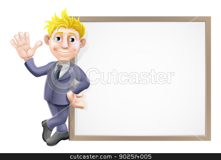Business man and sign stock vector clipart, An illustration of a smiling and waving businessman in his business suit leaning on a big sign with copy-space by Christos Georghiou