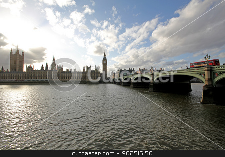 Westminster Big Ben and the Houses of Parliment stock photo, Westminster Big Ben and the Houses of Parliment along the Thames River bank UK by Ollie Taylor