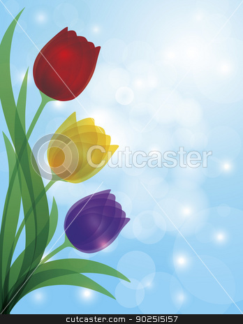 Colorful Tulips Blue Bokeh Background Illustration stock vector clipart, Colorful Tulips Bouquet Flowers for Mothers Day or Easter Illustration on Blue Sky Bokeh Background by Jit Lim