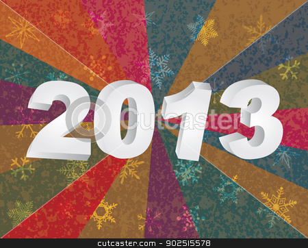 2013 New Year Numerals in 3D Background stock vector clipart, 2013 New Year Numerals in 3D and Snowflakes Colorful Rays Textured Background Illustration by Jit Lim
