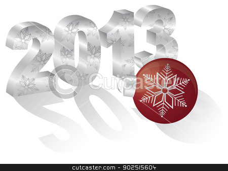 2013 New Year 3 Dimensional Numeral Ornament stock vector clipart, 2013 Happy New Year 3D Numbers and Red Ornament with Long Shadows Isolated on White Background by Jit Lim