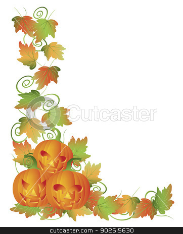 Carved Halloween Pumpkins and Vines Border Illustration stock vector clipart, Happy Halloween Trio of Carved Pumpkins with Leaves and Twine Border Illustration by Jit Lim
