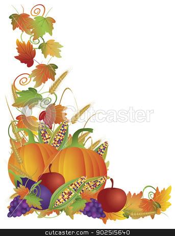 Thanksgiving Fall Harvest and Vines Border Illustration stock vector clipart, Thanksgiving Day Fall Harvest Pumpkin Eggplant Grapes Corns Apples with Leaves and Twine Border Illustration by Jit Lim