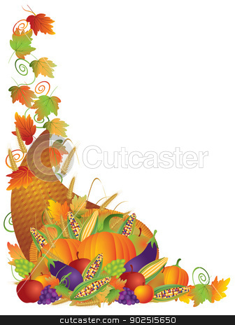 Thanksgiving Cornucopia Vines Border Illustration stock vector clipart, Thanksgiving Day Fall Harvest Cornucopia Pumpkin Eggplant Grapes Corns Apples with Leaves and Twine Border Illustration by Jit Lim
