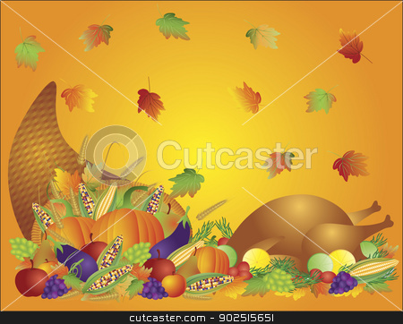 Thanksgiving Day Feast Cornucopia and Turkey Background Illustra stock vector clipart, Thanksgiving Day Fall Harvest Cornucopia with Turkey Dinner Feast Pumpkins Fruits and Vegetables illustration by Jit Lim