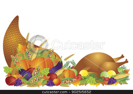 Thanksgiving Day Feast Cornucopia and Turkey Illustration stock vector clipart, Thanksgiving Day Fall Harvest Cornucopia with Turkey Dinner Feast Pumpkins Fruits and Vegetables illustration by Jit Lim