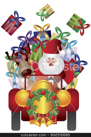 Santa Claus with Reindeer Driving Illustration stock vector clipart, Santa Claus with Reindeer Driving Presents in Vintage Classic Car Isolated on White Background Illustration by Jit Lim