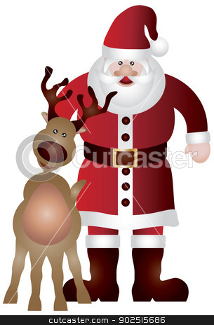 Santa Claus with Reindeer Illustration stock vector clipart, Santa Claus with Reindeer Isolated on White Background Illustration by Jit Lim