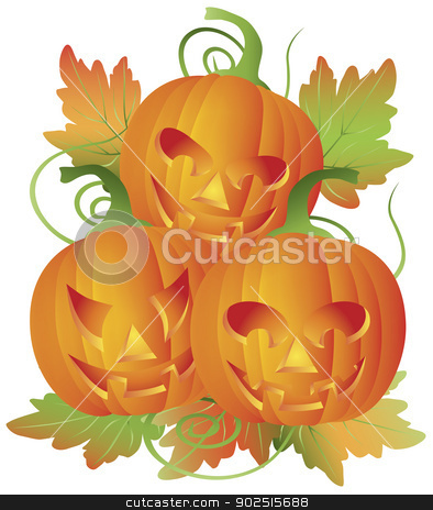 Trio of Carved Halloween Pumpkins Illustration stock vector clipart, Happy Halloween Trio of Carved Pumpkins with Leaves and Twine Illustration by Jit Lim