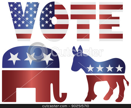 Vote Republican Elephant and Democrat Donkey Illustration stock vector clipart, Vote Republican Elephant and Democrat Donkey with American USA Flag Silhouette Illustration by Jit Lim