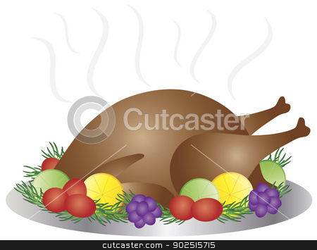 Thanksgiving Day Baked Turkey Dinner Illustration stock vector clipart, Thanksgiving Day Baked Roast Turkey Dinner with Lemon Lime Tomato Rosemary and Grapes Illustration by Jit Lim