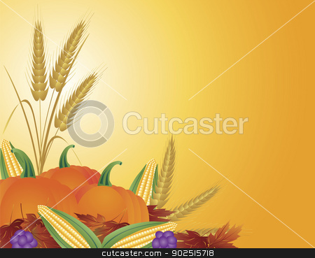 Fall Harvest Illustration stock vector clipart, Fall Harvest with Wheat Grain Pumpkins Corns Grapes and Leaves Illustration by Jit Lim
