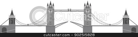 London Tower Bridge Illustration stock vector clipart, London Tower Bridge Illustration Isolated on White Background by Jit Lim
