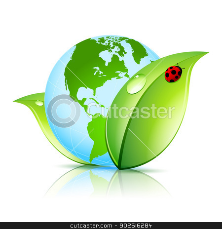 Green Earth Icon stock vector clipart, Green Earth Icon with Leaves and Ladybird by Vadym Nechyporenko