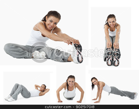 Collage of woman stretching stock photo, Collage of woman stretching and doing sport by Wavebreak Media