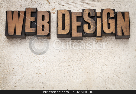 web design in wood type stock photo, web design text in vintage letterpress wood type blocks against grunge white painted barn wood with copy space by Marek Uliasz